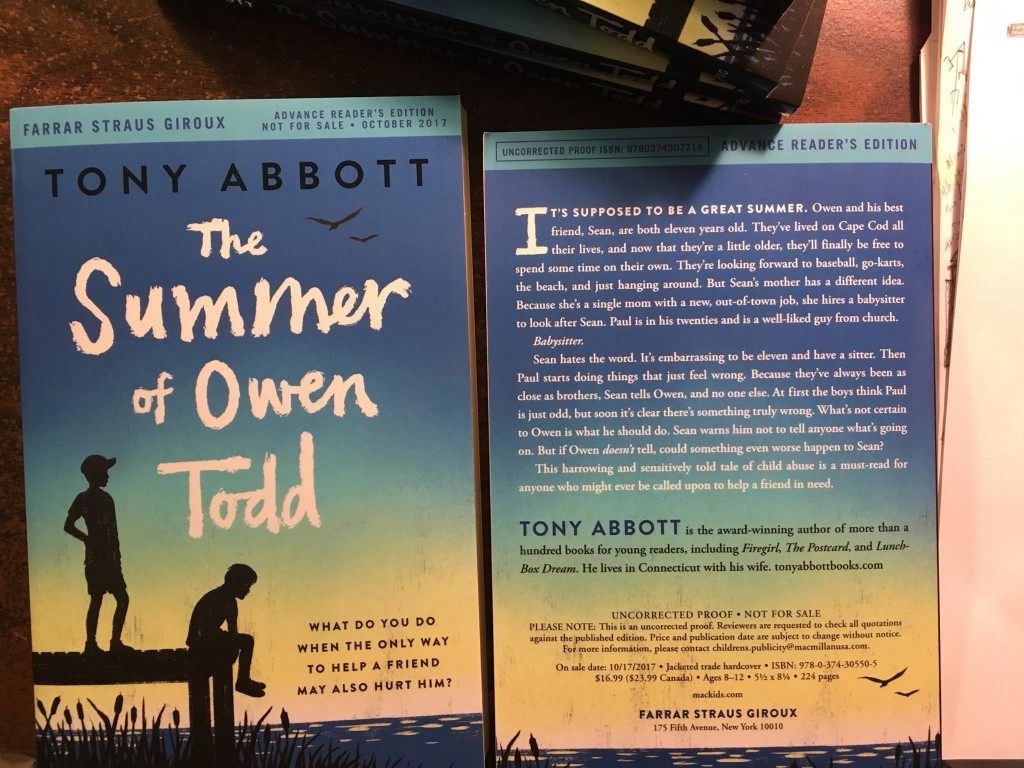 Due out Oct 2017! Wow! Advance copies of my new novel, The Summer of Owen Todd, arrived the other day; I can't wait for readers to share what they think!